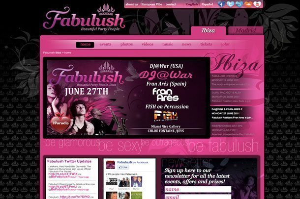 Befabulush Ibiza party website